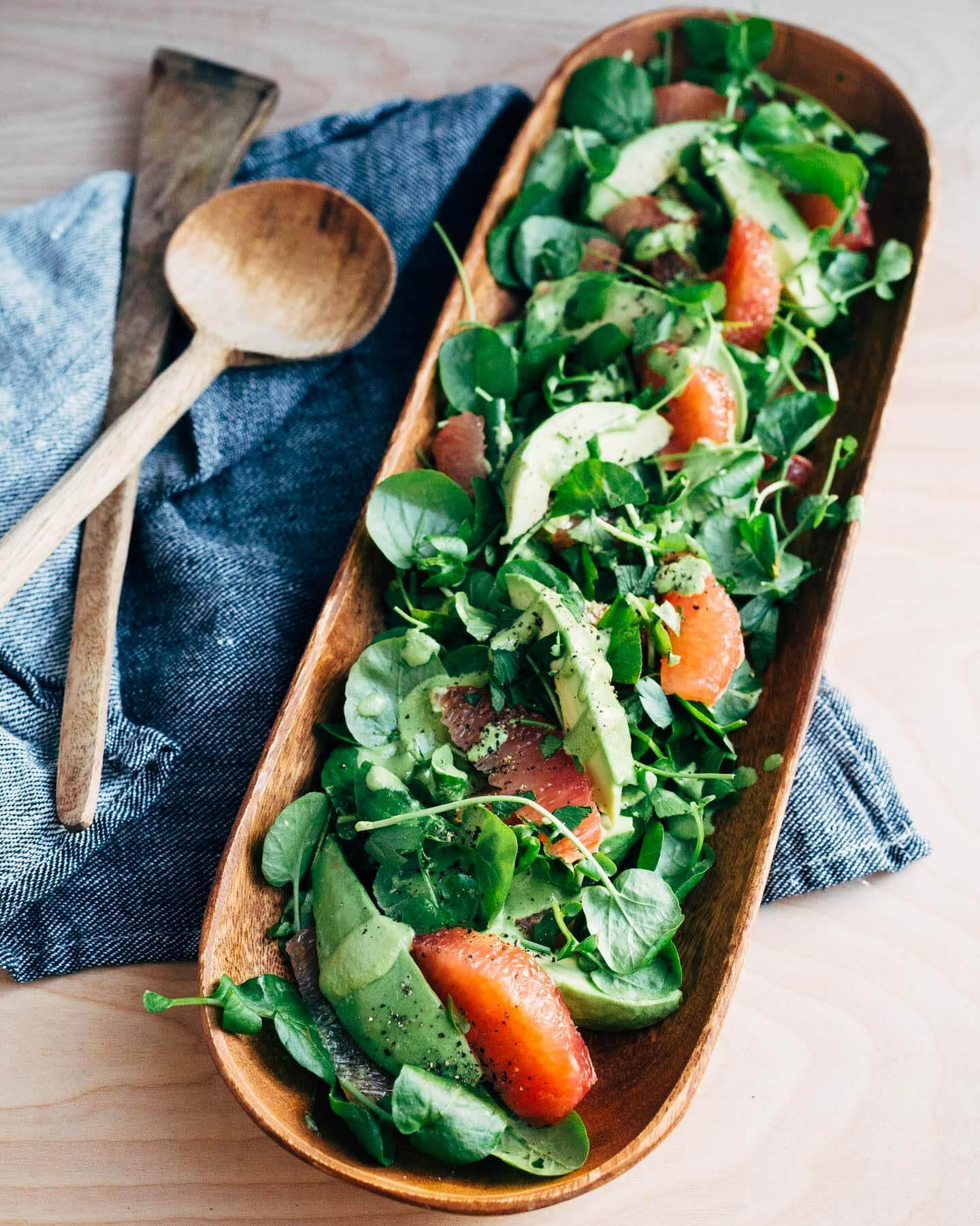 Сыроедческий Салат из Авокадо и Грейпфрута