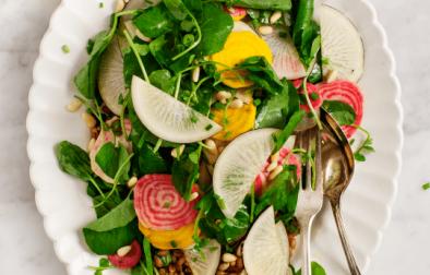 Сыроедческий Салат с Зеленью и Корнеплодами